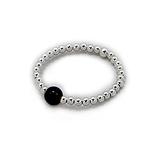 Crazy4Bling. Stackable Stretch Ring with Sterling Silver Beads and Black Onyx