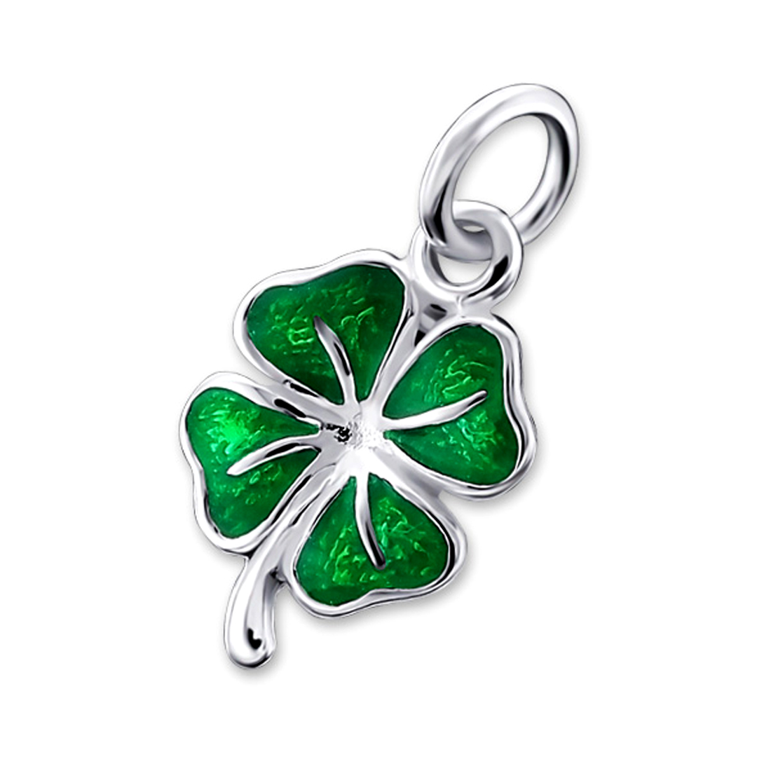 Green lucky shamrock necklace four leaf clover charm emerald green - Elf 18330 Sterling Silver Green Four Leaf Clover Irish Shamrock Charm Pendant 18 Chain