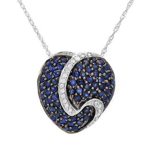 Crazy4bling diamond and sapphire heart pendant necklace in 10k white gold 235 ctw aloadofball Image collections