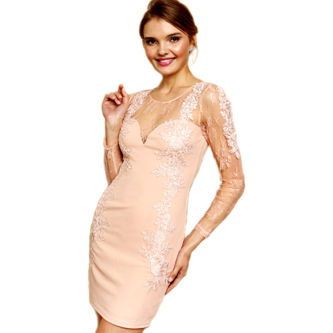 c46382eeca4cd Soieblu Blush Long Sleve Lace Bodycon Mini Short Dress with Golden Blush  Embroideries, Small
