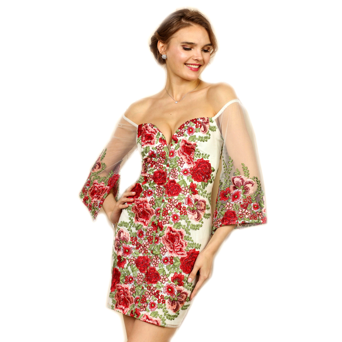 d54b249246a8 Soieblu, Ivory & Red Floral Embroidered Off-the-Shoulder Mini Short Dress,
