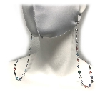Silver Colored Chain Mask Lanyard with Rainbow Colored Stones for Glasses or Masks