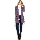 She + Sky Purple Grey Long Sleeve Sweater Cardigan w/Side Lace-up Pockets, Medium