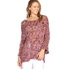 She + Sky 3/4 Sleeve Dusty Mauve Pullover Sweater w/Distressed Detail, One Size