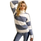 Blue Grey Striped Color block Turtleneck Pullover Sweater, Large