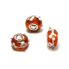 Cheneya Glass Bead in Orange with White Flowers