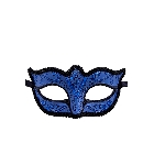 Blue and Black Glittering Paisley Print Swirl Pattern Masquerade Mask Trimmed in Silk
