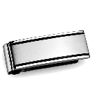 High Polished Stainless Steel Money Clip with Black Stripe Detail