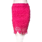 Embroider Pattern Hot Pink Fuchsia Laced Pencil Skirt with Scallop Hem, Junior Small