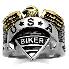 Two-Tone Ion Plated Gold And Stainless Steel USA Biker American Proud Mens Ring, Size 10