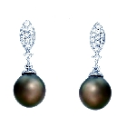 Black Tahitian Pearl Earrings with Wesselton Diamonds in 14K White Gold, 0.42ctw