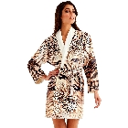 Wrap Up by VP Safari, Brown, Beige and Black Leopard and Zebra Print Microfiber Short Robe S/M