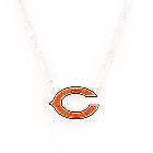 NFL Football Chicago Bears Crystal Logo Necklace in Orange and Black