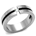 AAA High Grade Cubic Zirconia Clear CZ With High Polished Stainless Steel Promise or Wedding Band Ring, Size 7