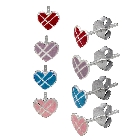Four Pairs of Lovely Enamel Heart stud earrings in sterling silver, Blue, Pink, Purple and Red