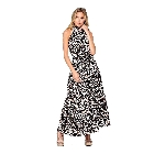 Black Colored Artistic Animal Print Halter Maxi Sun Dress, Small