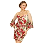 Soieblu, Ivory & Red Floral Embroidered Off-the-Shoulder Mini Short Dress, Small