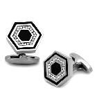 Hexagon Stainless Steel and Black Cufflinks with Top Grade Crystal Clear Stones