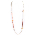 Long Gold Tone Chain Necklace with Orange Beads and Peach Enamel Hearts, 40 Inch