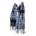 Super Soft Unisex Plaid Scarf  in Shades of Blue with Fringes