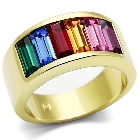 Top Grade Multi Color Crystal Stones Ring With Ion Plated Gold Stainless Steel Band, Size 8