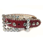 Red Leather Dog Collar with a Row of High Quality Clear Rhinestones, Size L