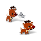 Children\'s Sterling Silver and Brown Enamel Rudolph the Raindeer Earrings