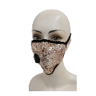 Shiny Gold Bling Sparkly Fashion Mask Decorated with Sequins, Washable with Valve and Filter Pocket
