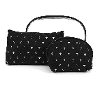 Three piece Clear, Black and White Cosmetic Toiletry Bag Set with Anchors