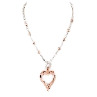 Rose Gold and Silver Tone Heart Charm Long Fashion Necklace and Earring Set