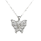 Dazzling Sterling Silver and Cubic Zirconia Butterfly Pendant, 18 Chain