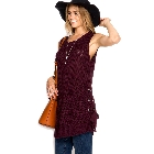 She + Sky, Plum Wine Sleeveless Tunic Sweater Top with Side Lace Up Detail, Medium