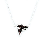 NFL Football Atlanta Falcons Crystal Logo Necklace in Deep Red and black
