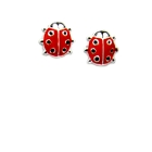 Children\'s Sterling Silver and Red Enamel Ladybug Earrings