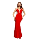 Soieblu Red Bodycon Long Maxi Dress with Slimming Beaded Side Detail, Small