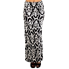 Black and White Maxi Skirt with Damask Pattern, Size Large
