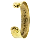 "Gold Tone Bangle Cuff with ""I Love You Forever"" Message and Heart Tip Accents"