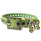 Apple Green Leather Dog Collar with a Row of High Quality Dark Green Rhinestones, SizeXL