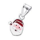 "Sterling Silver and Colored Enamel Santa Claus Pendant, 18"" Chain"