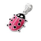 "Children's Sterling Silver Pink and Black Ladybug Pendant, 14"" Chain"