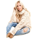 Blushing Heart, Cream Chunky Knit Turtleneck Sweater, S/M