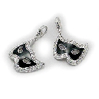 Sterling Silver Mask Charm with Cubic Zirconias and Black Enamel