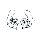 Contemporary Sterling Silver Mother and Child Dangle Earrings