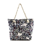 Multi Color Large Square Bottom Paisley Design Tote Bag