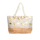 Two Tone Burlap Large Cotton Tote Beach Bag with Gold Foil Flamingos with Rope Handles
