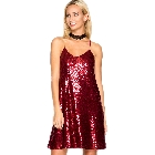 She + Sky, Sparkling Red Sequin Cami Spaghetti Strap Sleeveless Cocktail Dress, Large