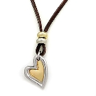 Chic Brown Leather Necklace Decorated with a Silver and Gold Heart