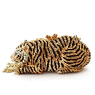 Black and Gold Crystal Tiger 3D Shaped Clutch Purse with Chain