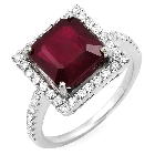 14K White Gold, Ruby and Diamond Ring, 6.61ctw