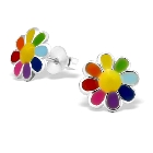 Children's Sterling Silver 925 Rainbow Colorful Flower Post Stud Earrings